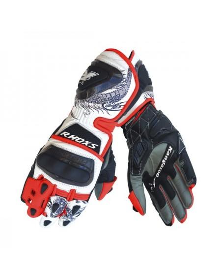 GUantes de moto racing RHOXS DRAGON Rojo Fluor